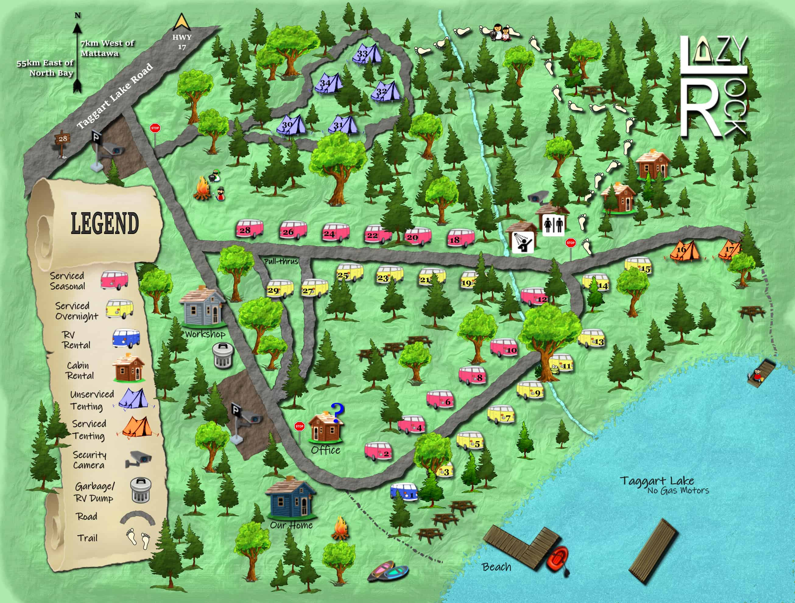 Lazy Rock Campground Map 2019