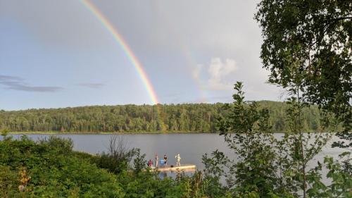 Rainbow over fishing dock